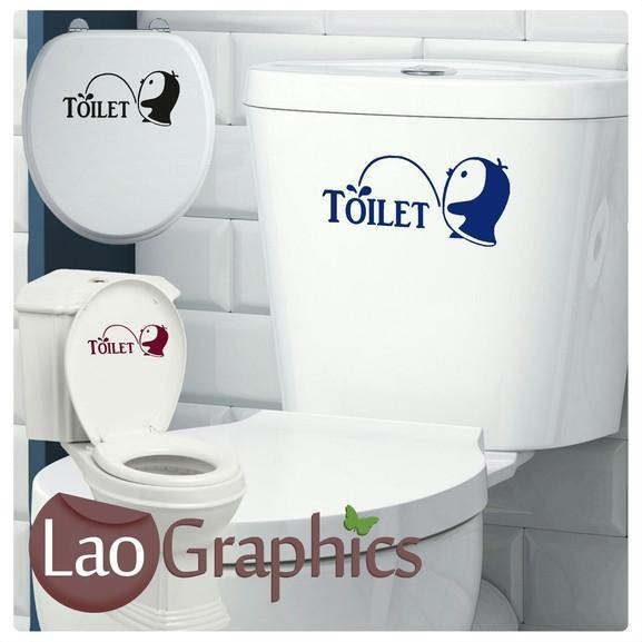Cute Penguin Bathroom Toilet Stickers Home Decor Art Decals Transfers-LaoGraphics