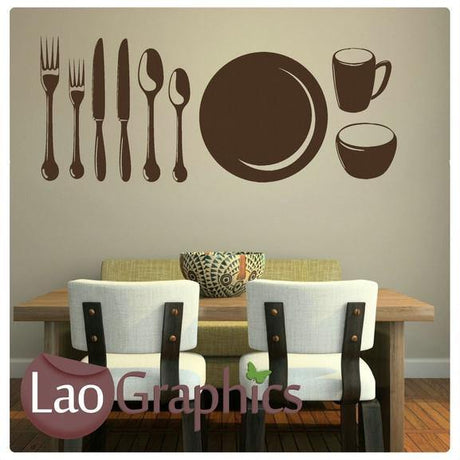 Cutlery & Plates Large Kitchen Wall Sticker Home Decor Vinyl Art Decal-LaoGraphics