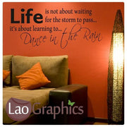 Dance In The Rain Inspiring Quote Wall Stickers Home Decor Art Decals-LaoGraphics