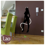 Devil Woman Girls Bedroom Wall Stickers Home Decor Art Decal Transfers-LaoGraphics