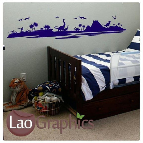 Dinosaur Landscape Boys Bedroom Wall Stickers Home Decor Art Decals UK-LaoGraphics