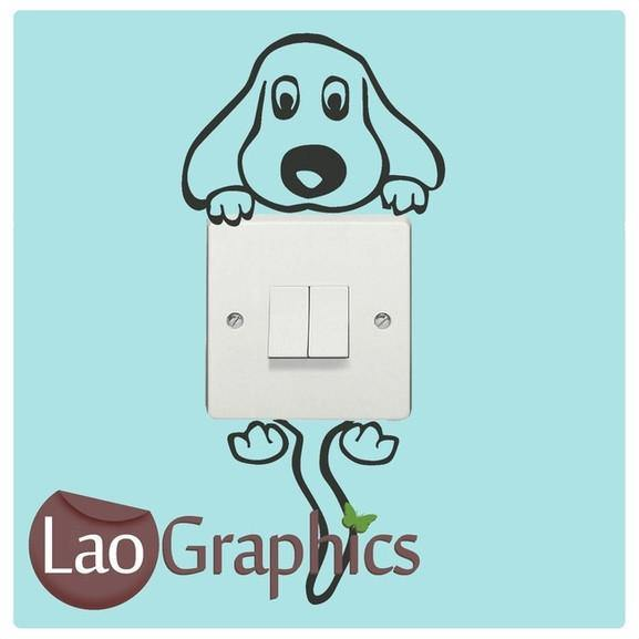 Dog Light Switch Art Decal Home Decor Cute Wall Sticker Vinyl Transfer-LaoGraphics