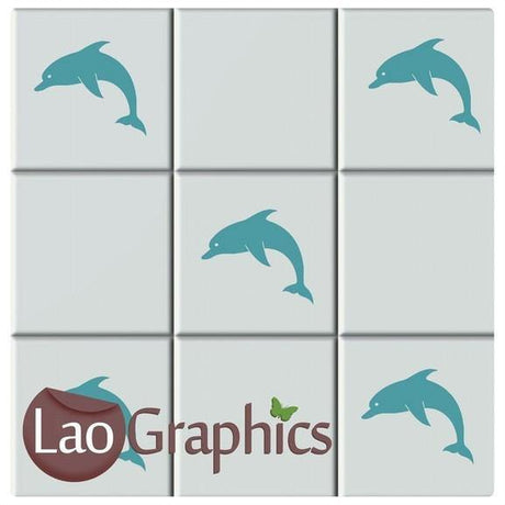 Dolphin Tile Transfers #2 Aquatic Home Decor Bathroom Art Decals UK-LaoGraphics