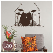 Drum Kit Music Wall Sticker Home Decor Boys Bedroom Art Decal Transfer-LaoGraphics