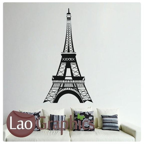 Eiffel Tower World Landmark Wall Stickers Home Decor France Art Decals-LaoGraphics