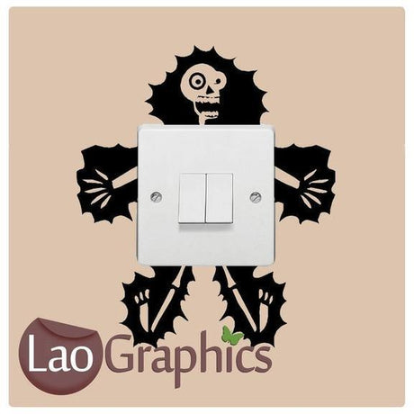 Electrecuted Skeleton Light Switch Decal Home Decor Cute Wall Stickers-LaoGraphics
