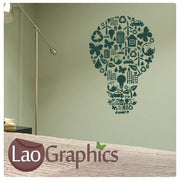 Energy Lightbulb Vinyl Transfer Wall Stickers Home Decor Art Decals-LaoGraphics