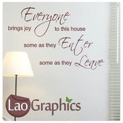 Everyone Brings Joy Home Quote Large Quote Wall Stickers Home Decor Art Decals-LaoGraphics