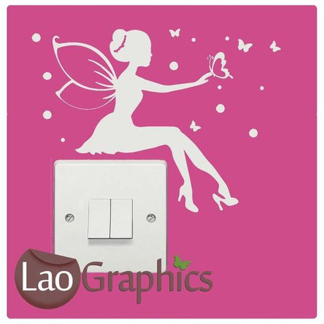 Fairy & Butterflies Light Switch Girls Bedroom Wall Stickers Home Decor Art Decals-LaoGraphics