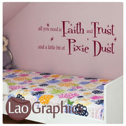 Fairy Dust Quote Girls Bedroom Wall Stickers Home Decor Art Decals-LaoGraphics