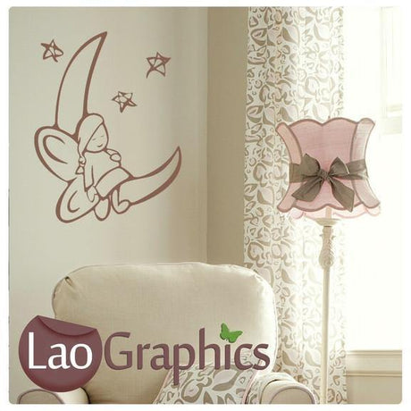 Fairy on a Moon Wall Stickers Home Decor Art Decals-LaoGraphics