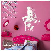 Fairy Sat on a Flower Petal Girls Bedroom Wall Stickers Home Decor Art Decals-LaoGraphics
