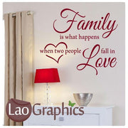 Family is What Happens Quote Modern Interior Quote Wall Stickers Home Decor Art Decals-LaoGraphics