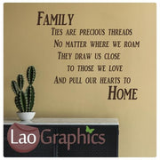 Family Ties are Precious Quote Modern Interior Quote Wall Stickers Home Decor Art Decals-LaoGraphics