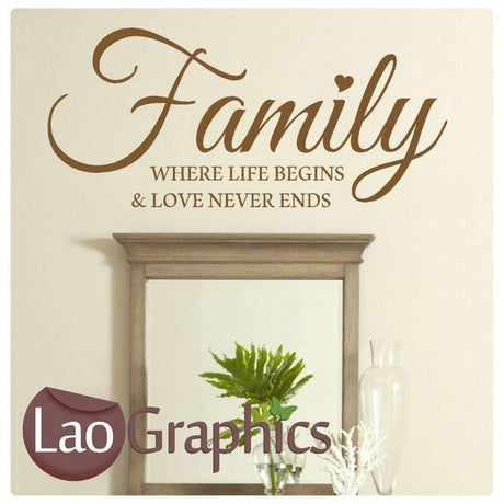Family Where Life Begins Quote Modern Interior Quote Wall Stickers Home Decor Art Decals-LaoGraphics