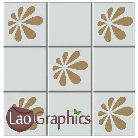Fancy Flower Kitchen / Bathroom Tile Transfers Home Decor Art Decals-LaoGraphics