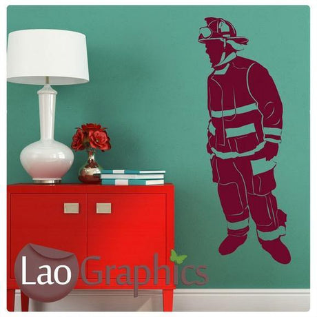 Firefighter Vinyl Transfer Wall Stickers Home Decor Art Decals-LaoGraphics