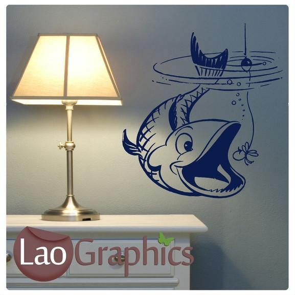 Fish Taking Bait Boys Aquatic Wall Stickers Home Decor Art Decals-LaoGraphics