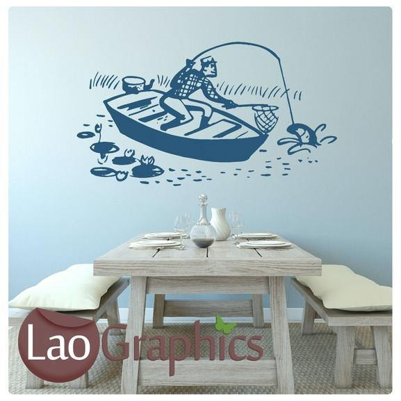 Fishing Boat Boys Aquatic Wall Stickers Home Decor Art Decals-LaoGraphics