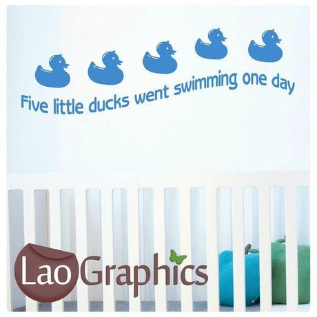 Five Little Ducks Went Swimming Wall Stickers Home Decor Art Decals-LaoGraphics