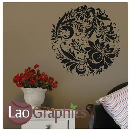 Floral Circle Modern Interior Wall Stickers Home Decor Art Decals-LaoGraphics