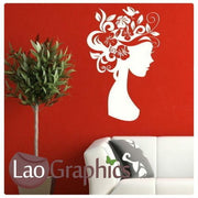 Floral Headed Woman Girls Bedroom Wall Stickers Home Decor Art Decals-LaoGraphics