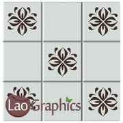 Floral Pattern Kitchen / Bathroom Tile Transfers Home Decor Art Decals-LaoGraphics