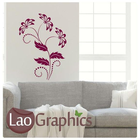 Floral Pattern Modern Interior Wall Stickers Home Decor Art Decals-LaoGraphics