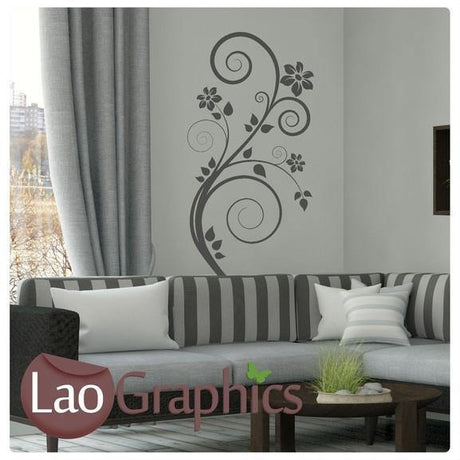 Floral Swirl Modern Interior Wall Stickers Home Decor Art Decals-LaoGraphics