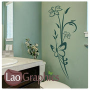 Flower & Butterfly Modern Interior Wall Stickers Home Decor Art Decals-LaoGraphics