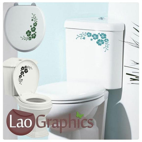 Flower / Floral #1 Bathroom Toilet Stickers Home Decor Art Decals-LaoGraphics
