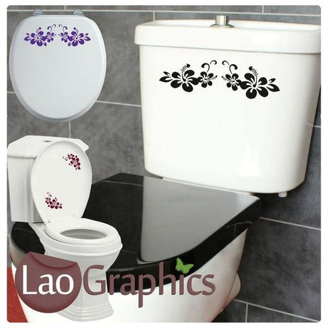 Flower / Floral #2 Bathroom Toilet Stickers Home Decor Art Decals-LaoGraphics