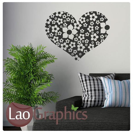 Flower Love Heart Girls Room Wall Stickers Home Decor Pretty Art Decals-LaoGraphics