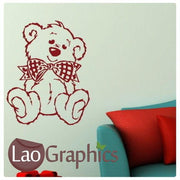 Fluffy Bow Tie Teddy Childrens Nursery Wall Sticker Home Decor Art Decals-LaoGraphics