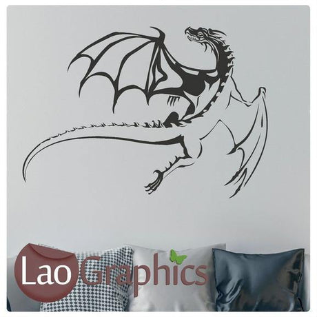 Flying Dragon Oriental Wyvern Fantasy Wall Stickers Home Decor Art Decals-LaoGraphics