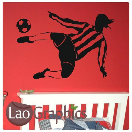 Footballer Boys Sports Wall Stickers Home Decor Art Decals-LaoGraphics