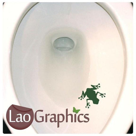 Frog Potty Training Bathroom Toilet Stickers Home Decor Art Decals-LaoGraphics