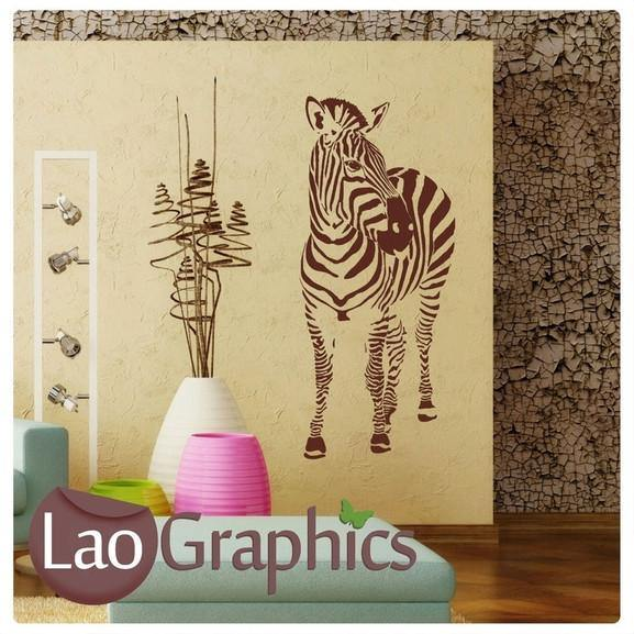 Front Zebra African Wild Animals Wall Stickers Home Transfer Art Decals-LaoGraphics