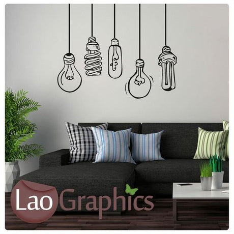Funky Lightbulbs Lamp Wall Stickers Home Decor Lamp Art Decals-LaoGraphics