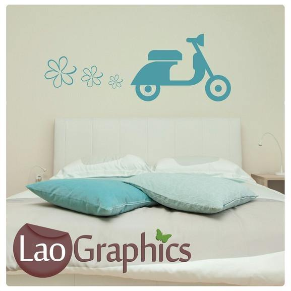 Funky Scooter & Flowers Vehicle & Transport Wall Stickers Home Decor Art Decals-LaoGraphics