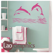 Giant Dolphins Wall Filler Girls Room Aquatic Wall Stickers Home Decor Art Decals-LaoGraphics