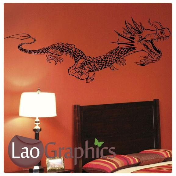 Giant Dragon / Wyvern Oriental Wyvern Fantasy Wall Stickers Home Decor Art Decals-LaoGraphics