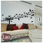 Giant Powerline & Birds Modern Birds Wall Stickers Home Decor Art Decals-LaoGraphics