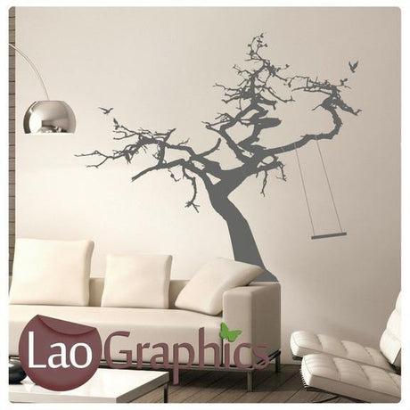 Giant Tree & Rope Swing Wall Stickers Home Decor Art Decals-LaoGraphics