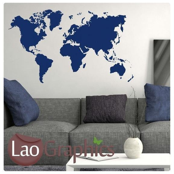 Giant World Map Wall Sticker Home Decor Art Decals LaoGraphics Part 80