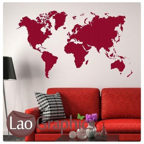 Giant World Map Wall Sticker Home Decor Art Decals-LaoGraphics