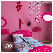 Girl & Balloon Nursery Wall Stickers Home Decor Childrens Art Decals-LaoGraphics