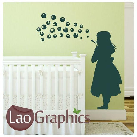 Girl Blowing Bubbles Nursery Wall Stickers Home Decor Childrens Art Decals-LaoGraphics