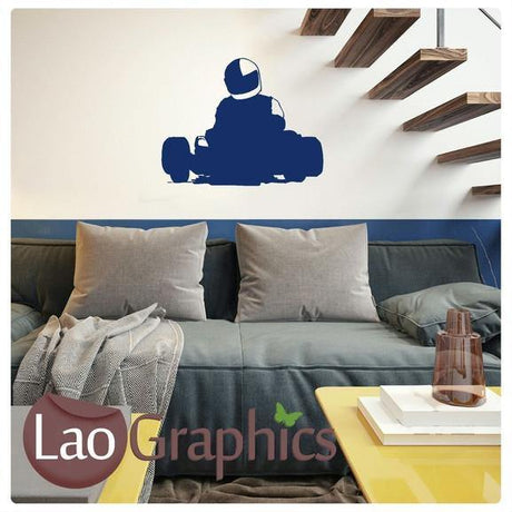 Go Kart Silhouette Boys Room Wall Stickers Home Decor Racing Art Decals-LaoGraphics