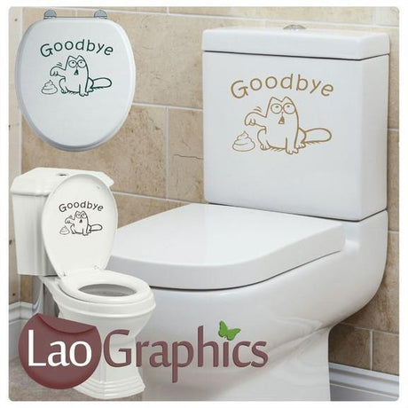 Goodbye Cat Bathroom Toilet Stickers Home Decor Art Decals-LaoGraphics